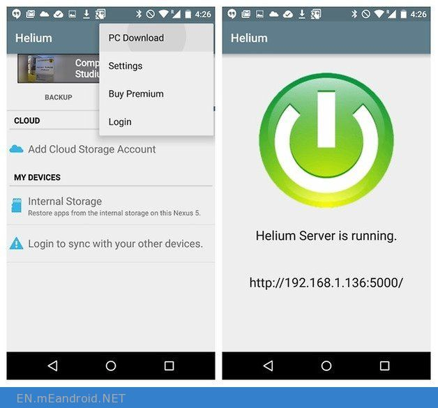 AndroidPIT Helium Backup PC Download server running