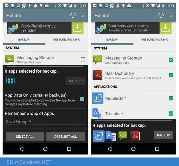 AndroidPIT Helium Backup app data only app backup